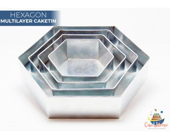 4 Tier Hexagon  Multilayer Wedding Cake Tin / Pans