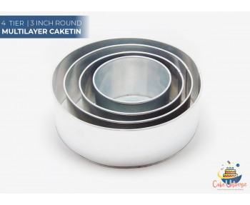 4 Tier Round Shape | 3 Inch Deep | Wedding And Birthday Cake Baking Tin And Pan | 6 8 10 12 Inch