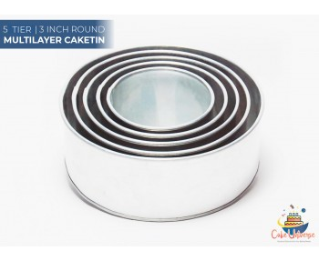 5 Tier Round Shape | 3 Inch Deep | Wedding And Birthday Cake Baking Tin And Pan | 6 7 8 9 10 Inch