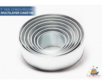 7 Tier Round Shape | 3 Inch Deep | Wedding And Birthday Cake Baking Tin And Pan | 6 7 8 9 10 12 14 Inch