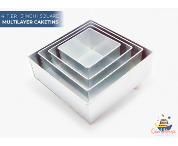 4 Tier Square Shape | 3 Inch Deep | Wedding And Birthday Cake Baking Tin And Pan | 6 8 10 12 Inch