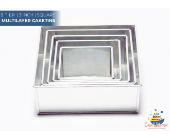 5 Tier Square Shape | 3 Inch Deep | Wedding And Birthday Cake Baking Tin And Pan | 6 7 8 9 10 Inch