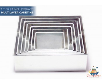 7 Tier Square Shape | 3 Inch Deep | Wedding And Birthday Cake Baking Tin And Pan | 6 7 8 9 10 12 14 Inch