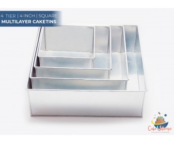 4 Tier Square Shape | 4 Inch Deep | Wedding And Birthday Cake Baking Tin And Pan | 6 8 10 12 Inch