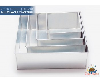 4 Tier Square Shape | 5 Inch Deep | Wedding And Birthday Cake Baking Tin And Pan | 6 8 10 12 Inch