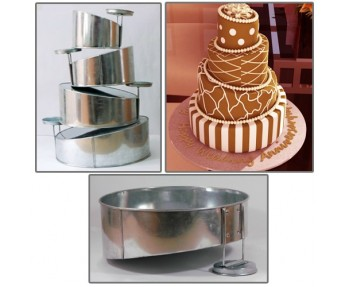 "4 TIER ROUND SHAPE MINI TOPSY TURVY MAD HATTER Cake Tin / Pan BAKING PAN 5""7""9""11"""