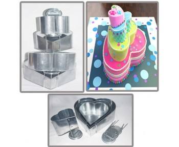 4 TIER HEART SHAPE MINI TOPSY TURVY MAD HATTER Cake Tin / Pan