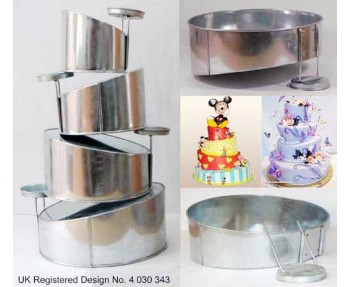4 Tier Topsy Turvy Round Multilayer Wedding Cake Baking Tins  / Pans