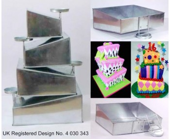 4 Tier Topsy Turvy Square  Multilayer Wedding Cake Tin / Pans